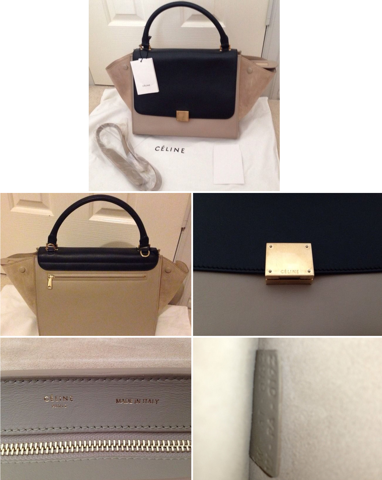 fake handbags in singapore - celine tricolor trapeze bag