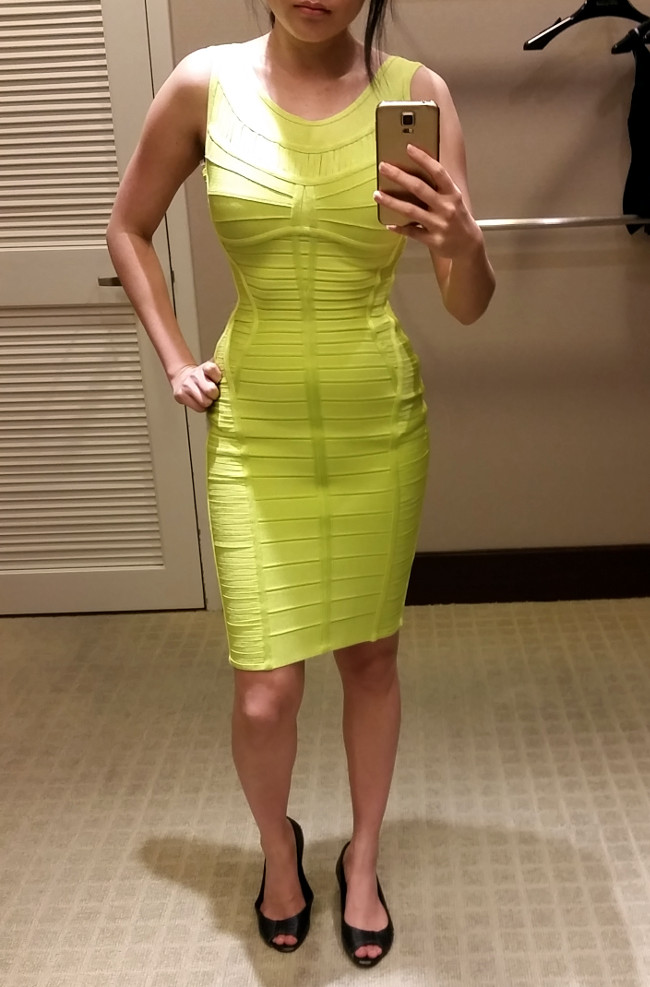 bodycon yellow Herve Leger dress