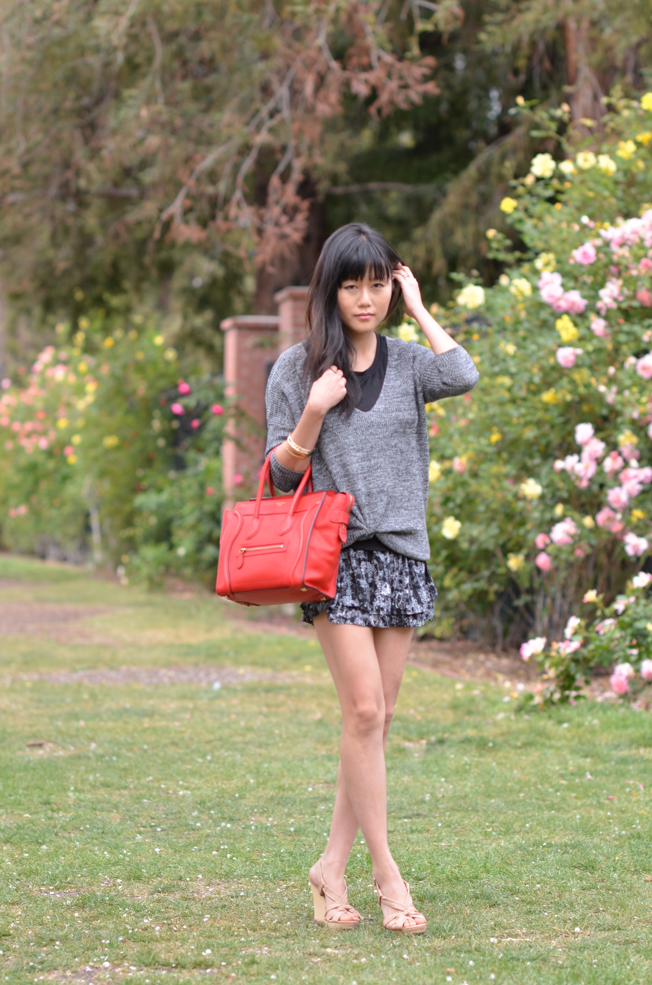 Outfit with a Red Drummed Micro Celine Bag | Lollipuff