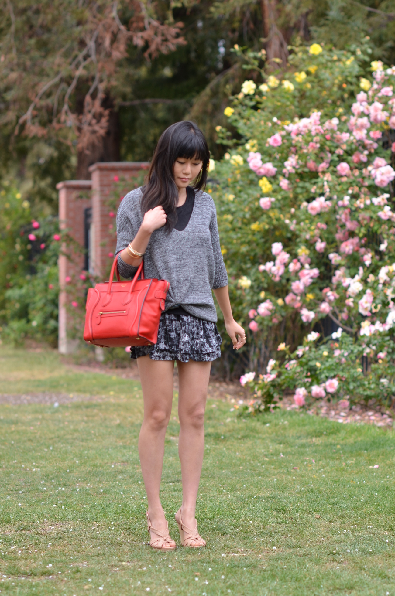 best replica celine handbags - Outfit with a Red Drummed Micro Celine Bag   Lollipuff