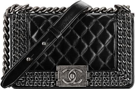 086dbb23612103 Chanel 2015 Spring Summer Handbag Bag Collection. Small Calfskin Boy Flap  with Interlaced Chains