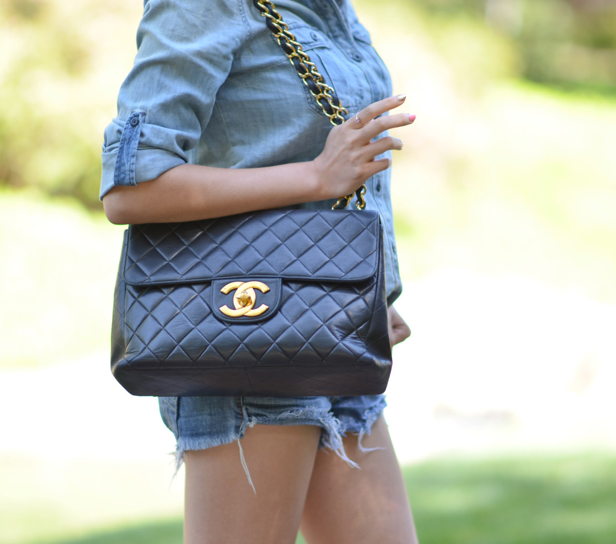 large Chanel jumbo quilted flap bag with large gold cc