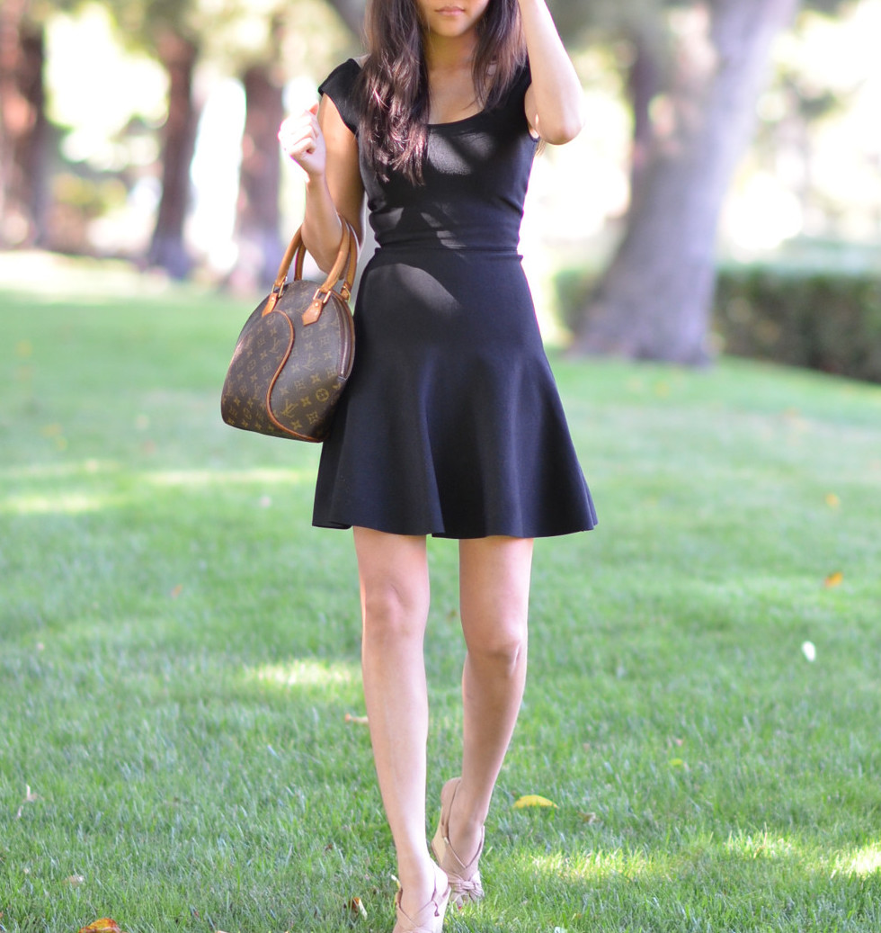 black a line bcbg izella dress louis vuitton ellipse bag outfit