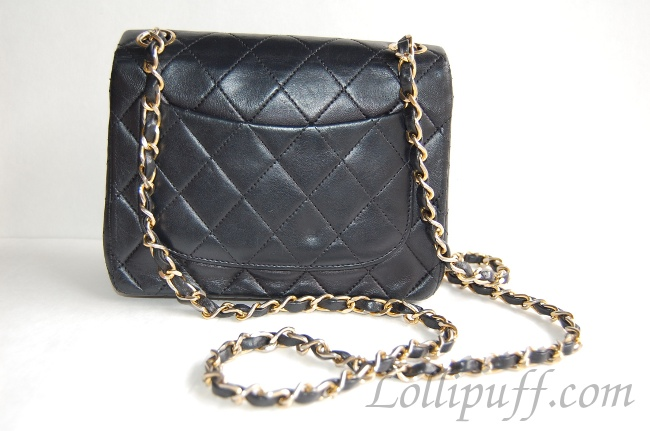 chanel mini bag lambskin 2.55 gold hardware quilted back pocket