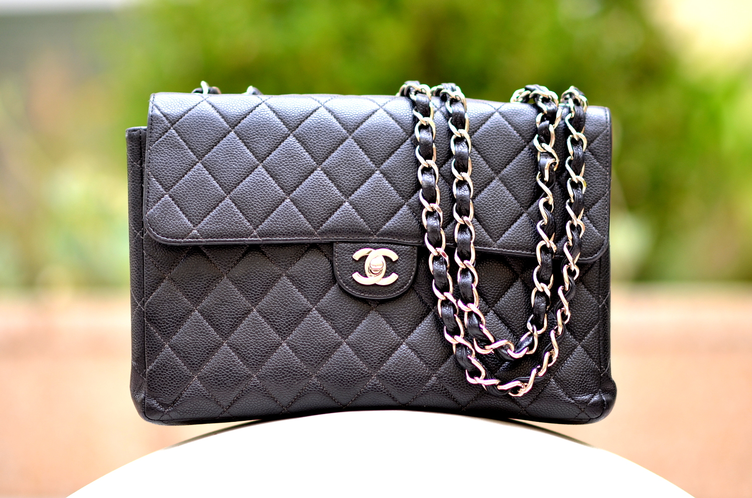 40501a2e9bc462 Outfit with Black Chanel Caviar Classic Jumbo Flap Bag | Lollipuff