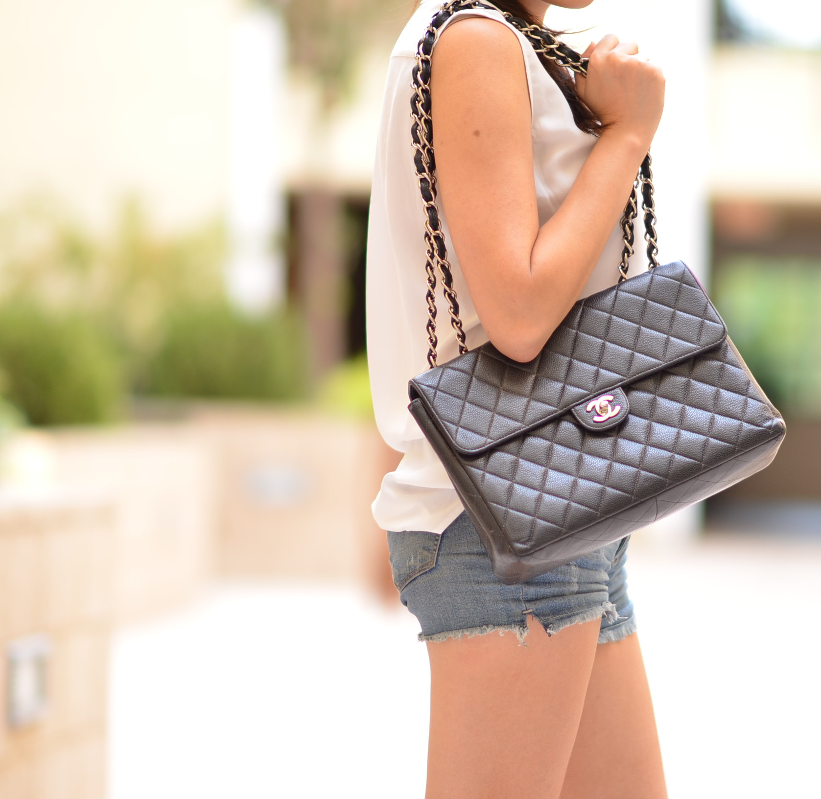 75b125f8362c07 Outfit with Black Chanel Caviar Classic Jumbo Flap Bag | Lollipuff