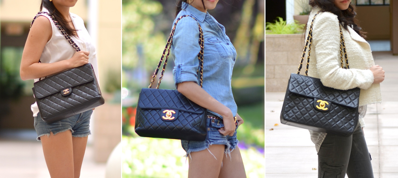 624a966cce2 Outfit with Black Chanel Caviar Classic Jumbo Flap Bag | Lollipuff