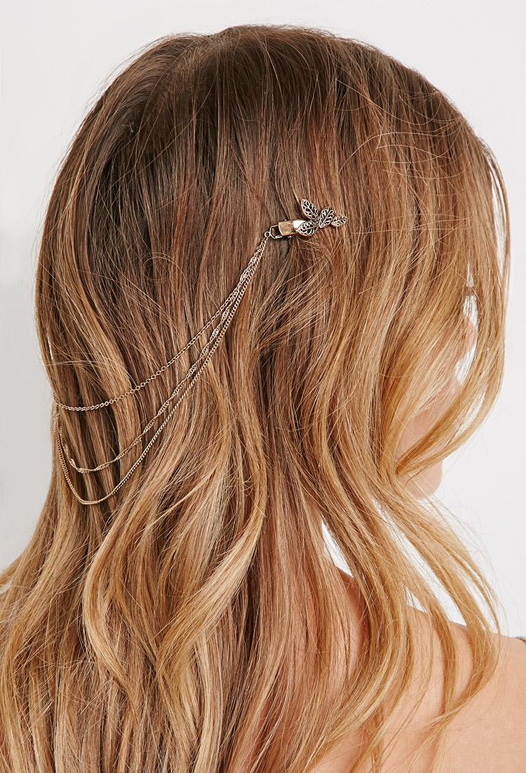 leaf multi-strand hairpiece clip