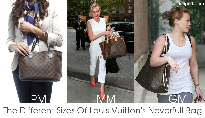 louis vuitton neverfull wearing size comparison bags pm mm gm