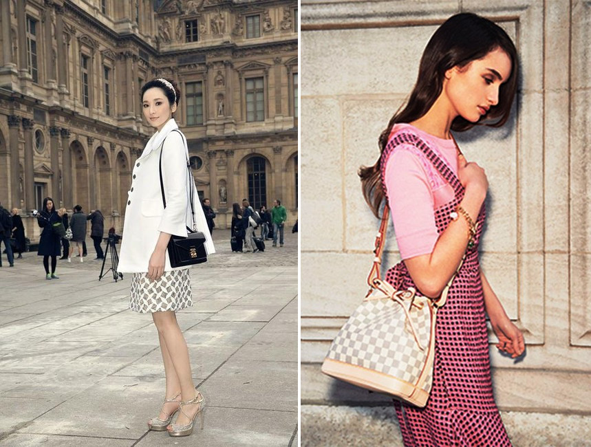 wearing modeling louis vuitton bb size shoulder strap bags