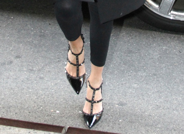 dae1ec4d5db17 celeb celebrity wearing Valentino rockstud studded spiked heels sandals  pumps caged