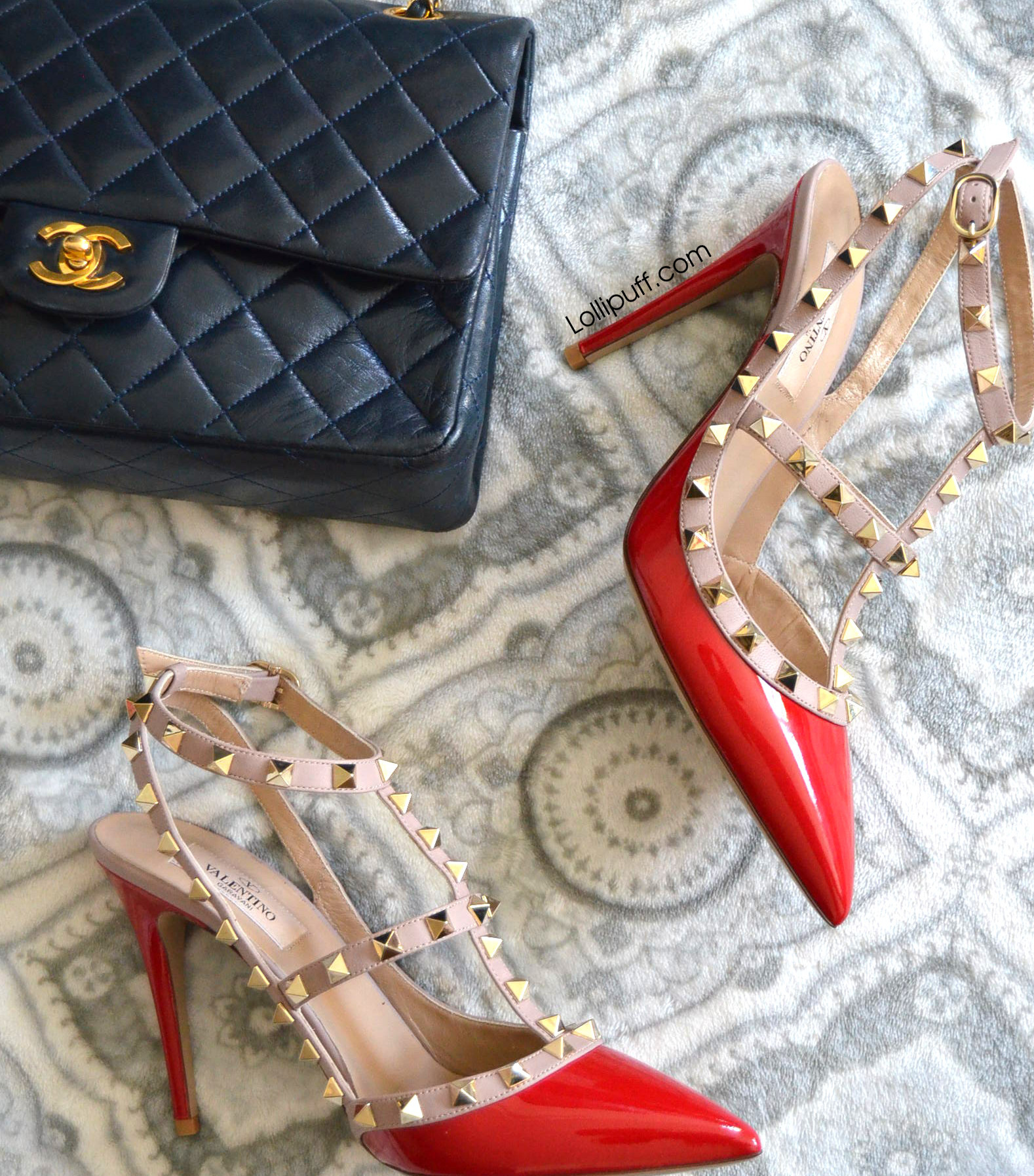 red and beige Valentino rockstud heels pumps with Chanel quilted classic flap bag