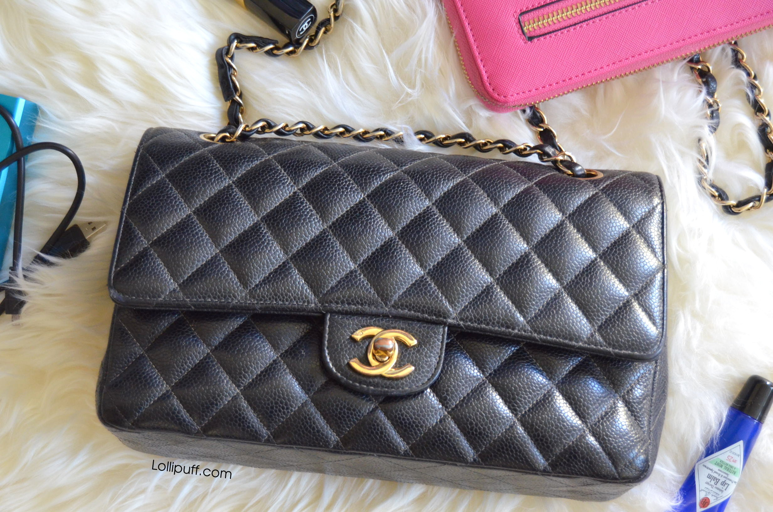 inside a medium classic chanel double flap bag lollipuff