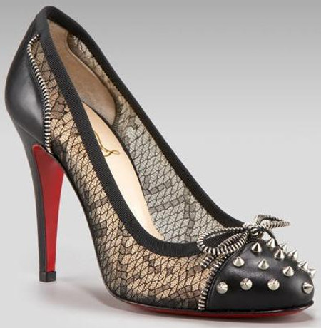 christian louboutin candy lace zipper spike heels