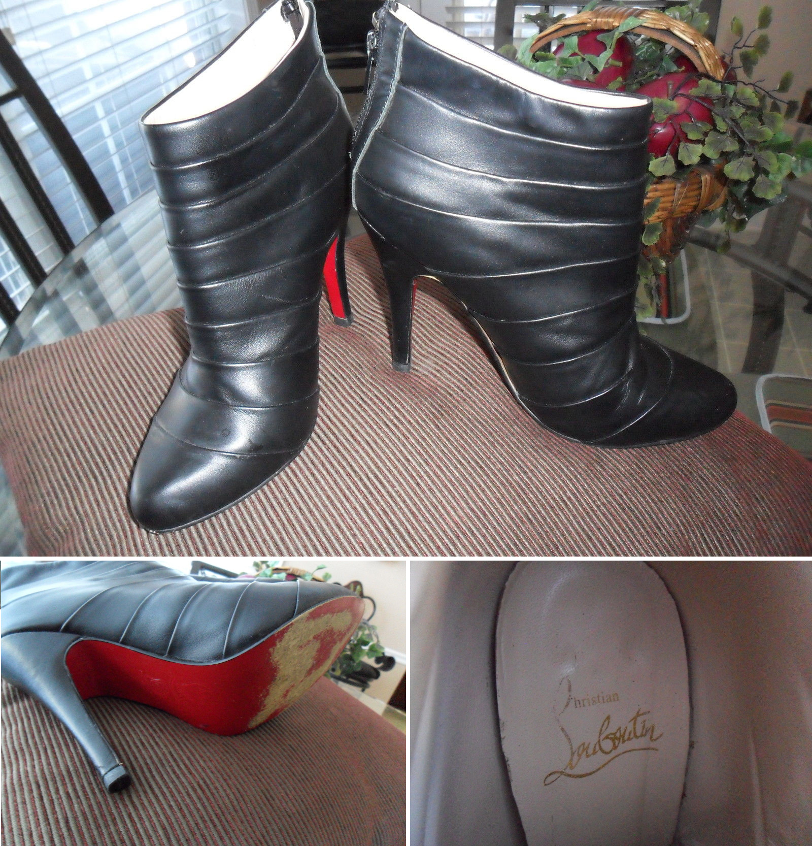 scalloped tiered christian louboutin ankle boot superfake shoes