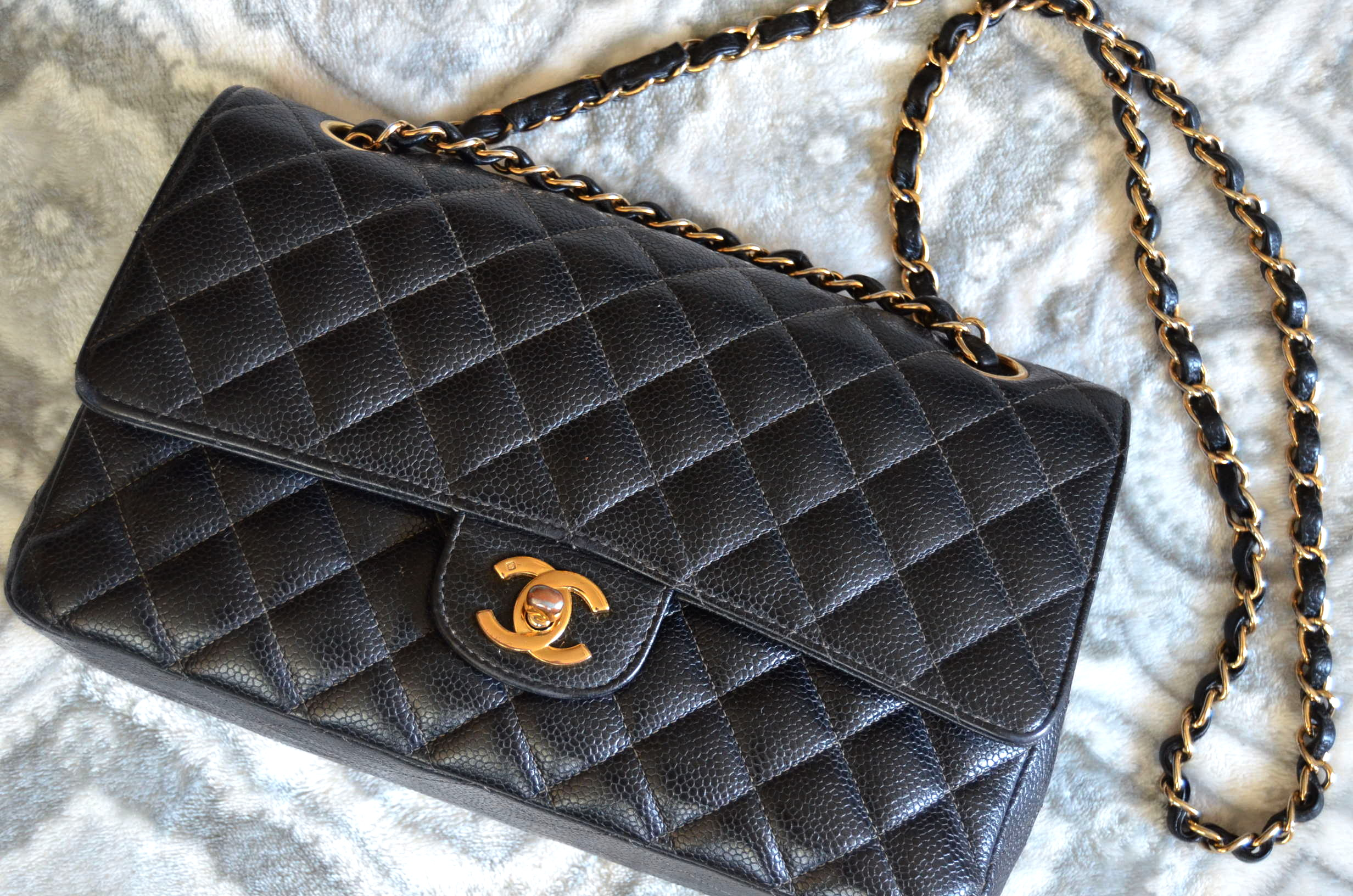 timeless 2.55 double flap caviar Chanel bag