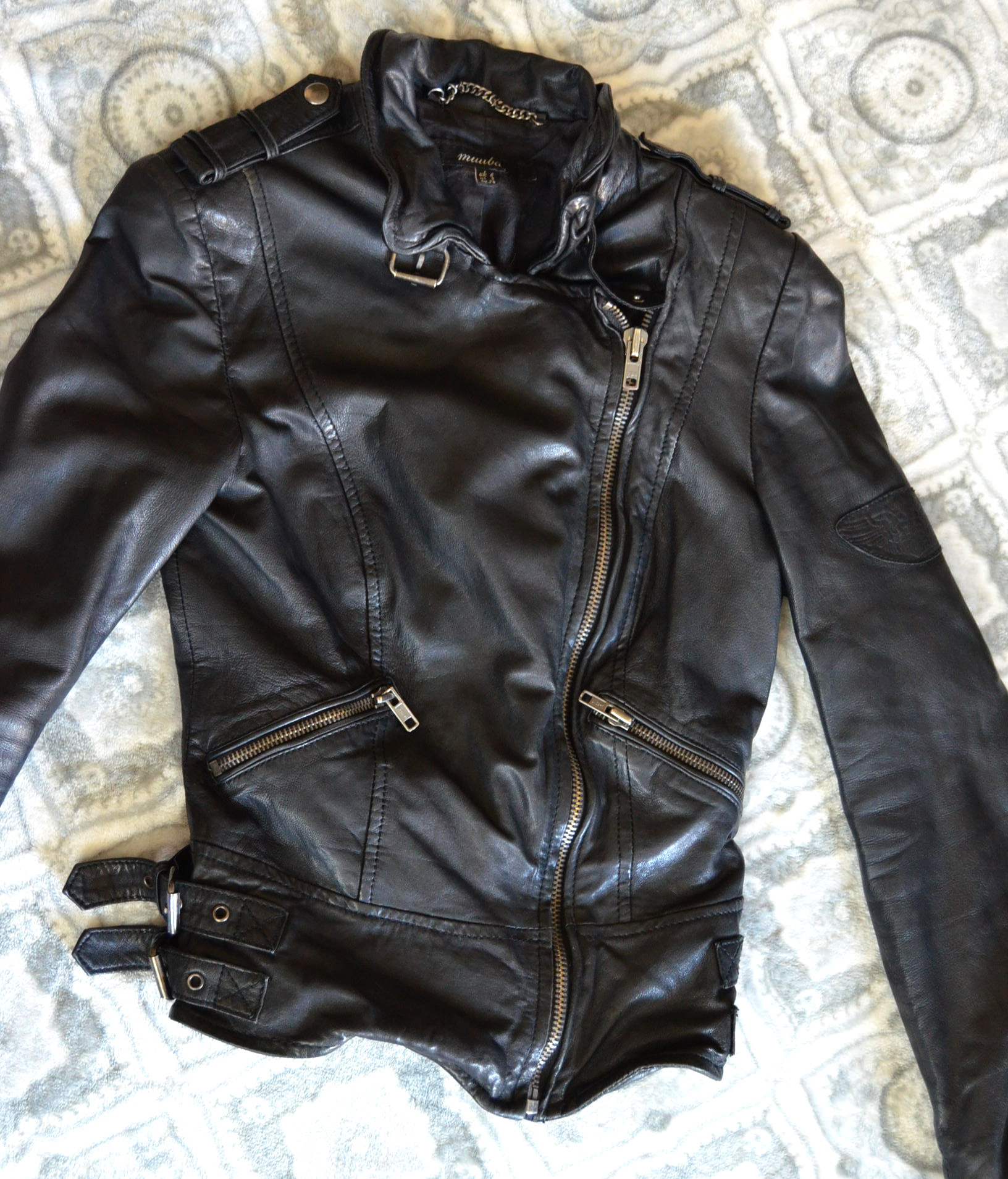 tight fitted modern edgy leather jacket