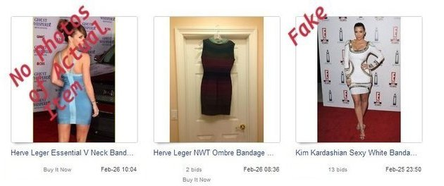Fake Herve Leger dresses on eBay