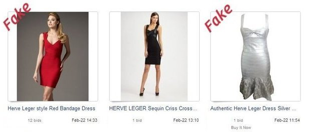 Fake Herve Leger on eBay