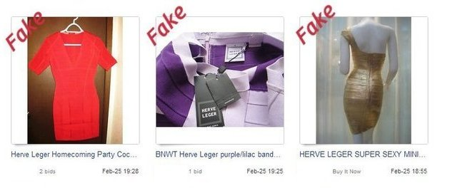 Fake Herve Leger on eBay 2