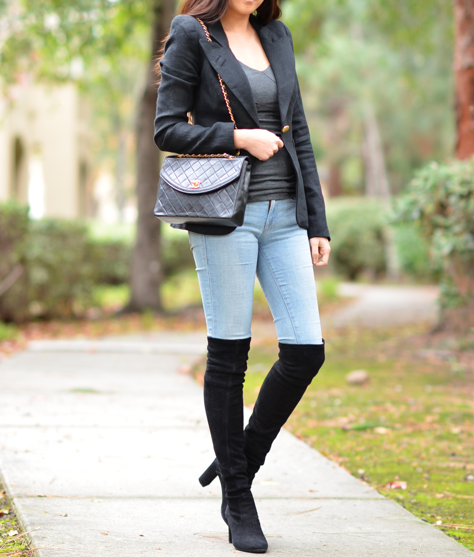skinny jeans blazer over the knee otk boots outfit