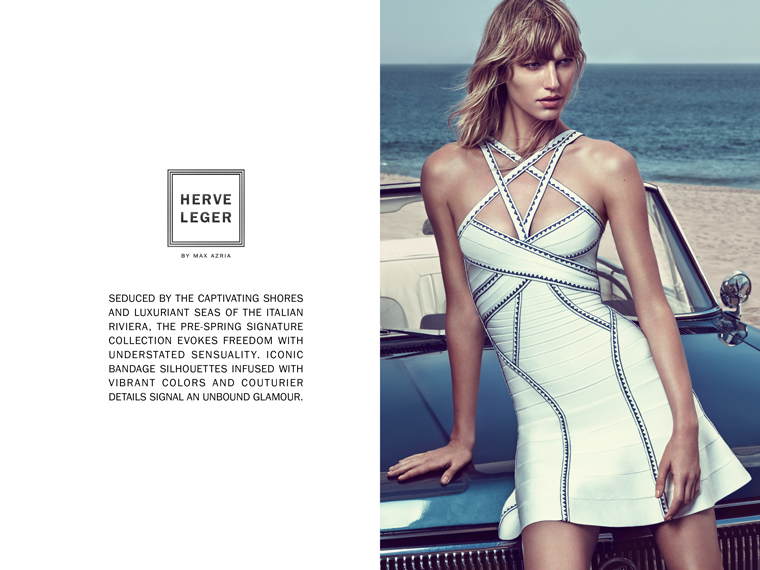 herve leger spring 2016 strappy a line flared dress