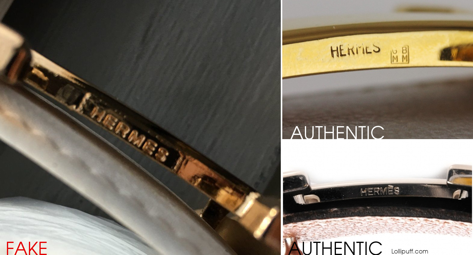 Hermes stamp imprint hallmark on metal buckle