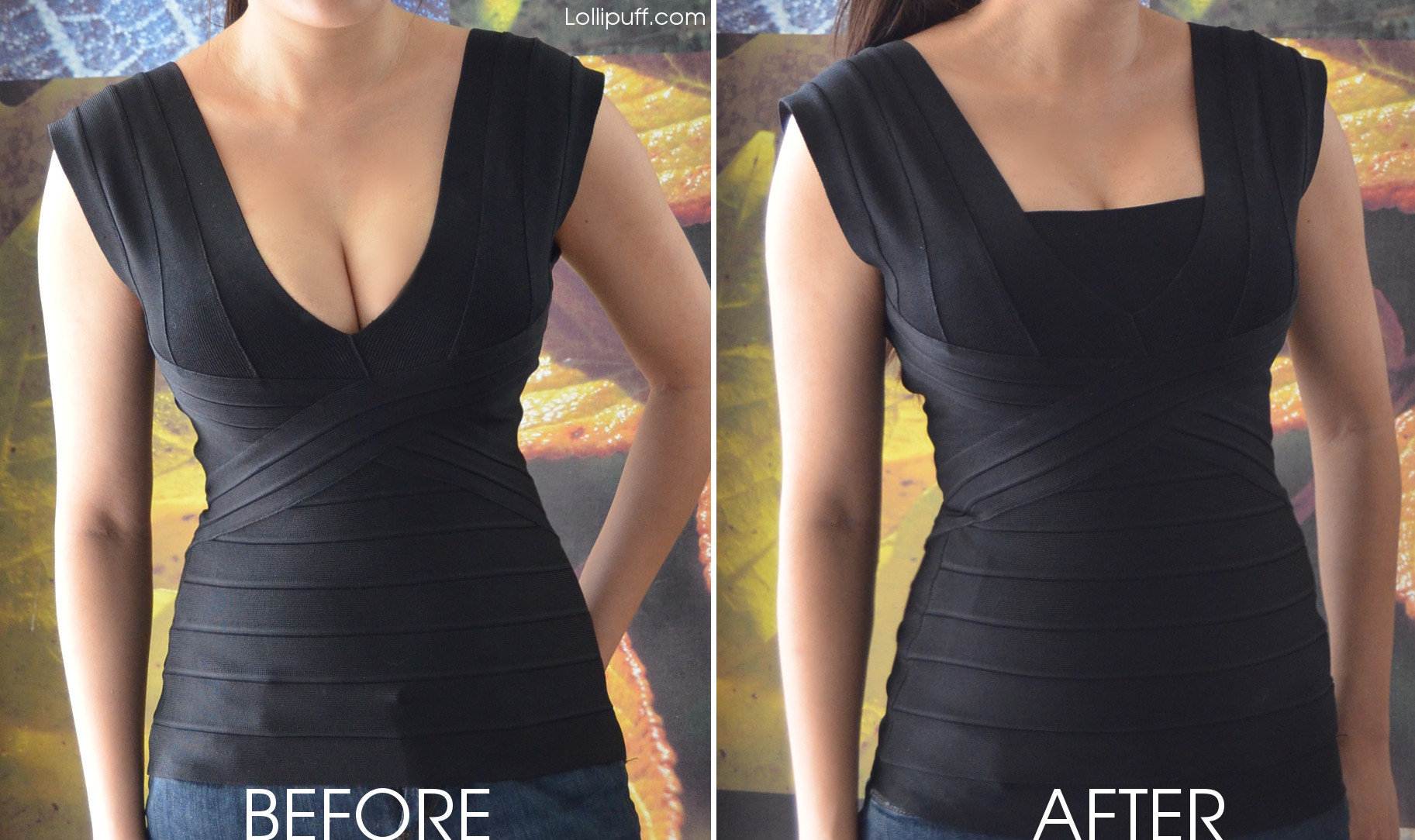how to cover up deep v low neckline cleavage