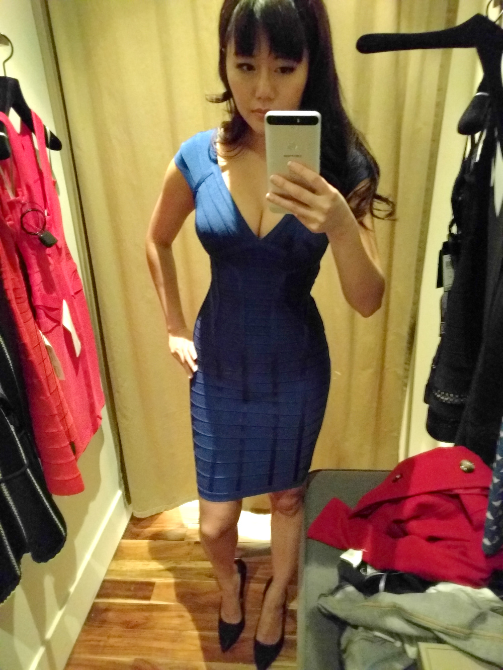 classic blue v neck tight bandage dress