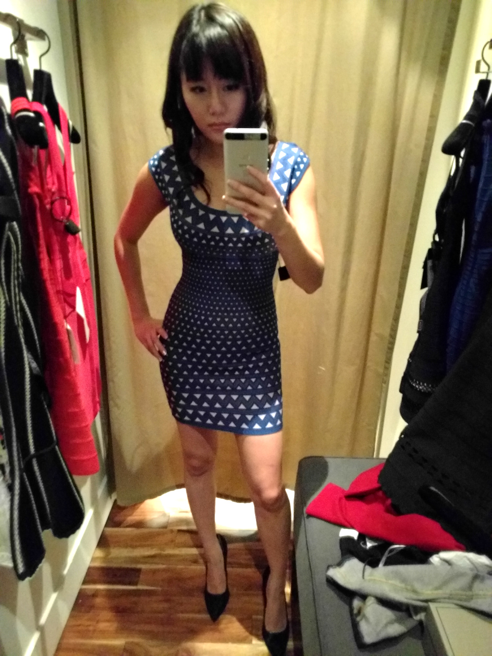 geometric blue herve Leger mini bodycon dress