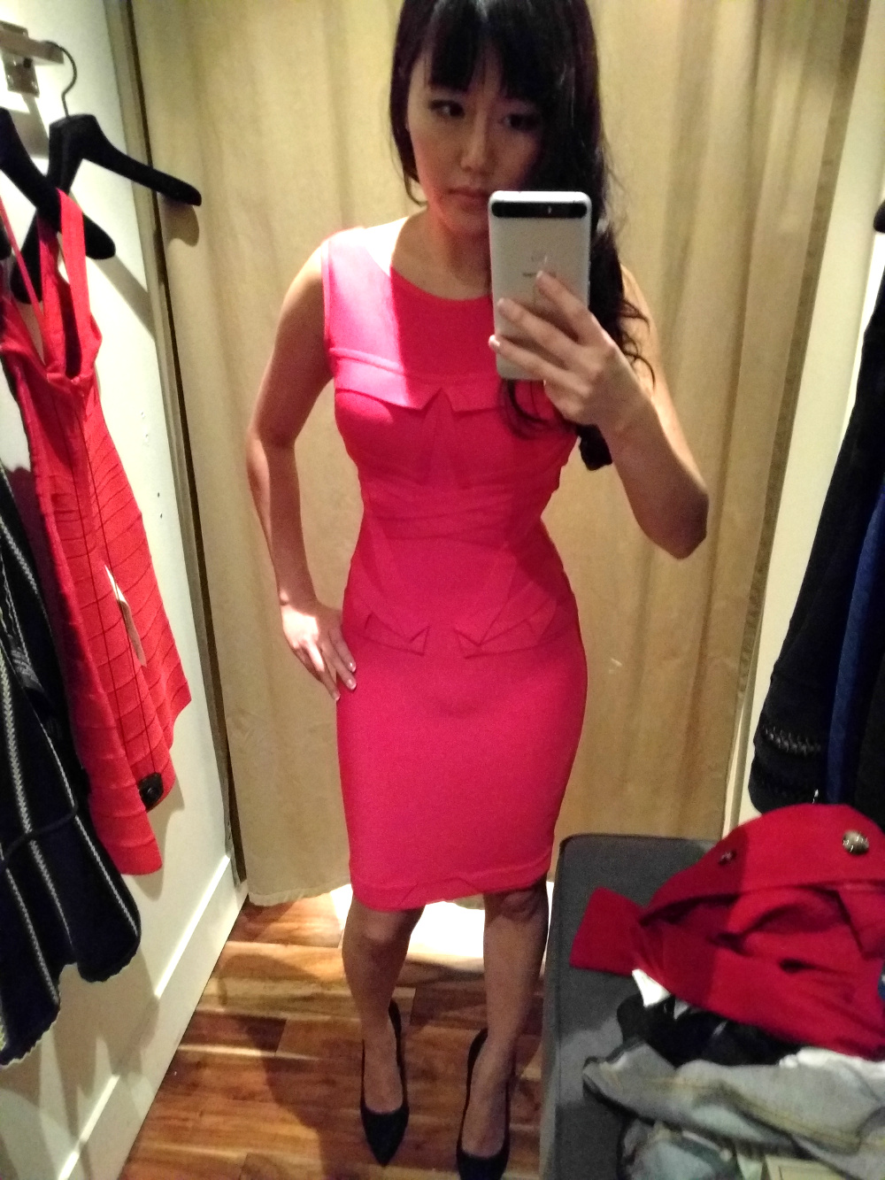 pleated pink rose red Herve Leger dress