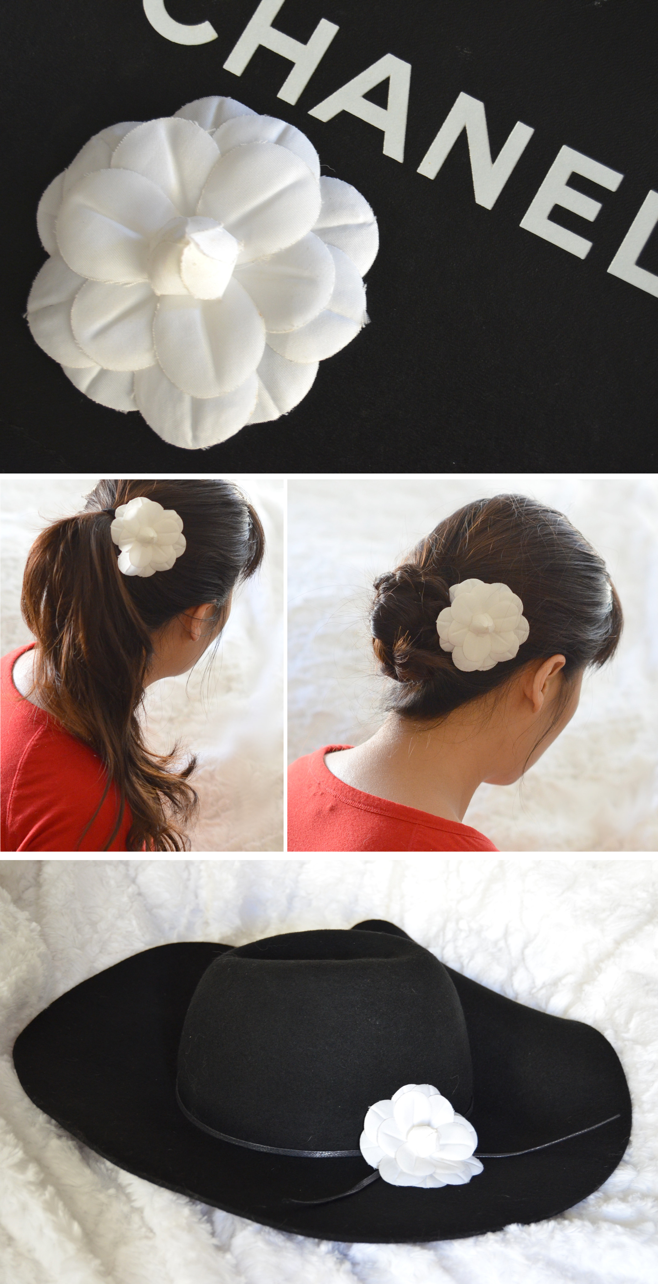 chanel white camellia fabric flower used in hair on hat