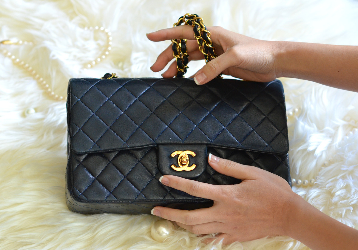 black lambskin Chanel double flap classic bag