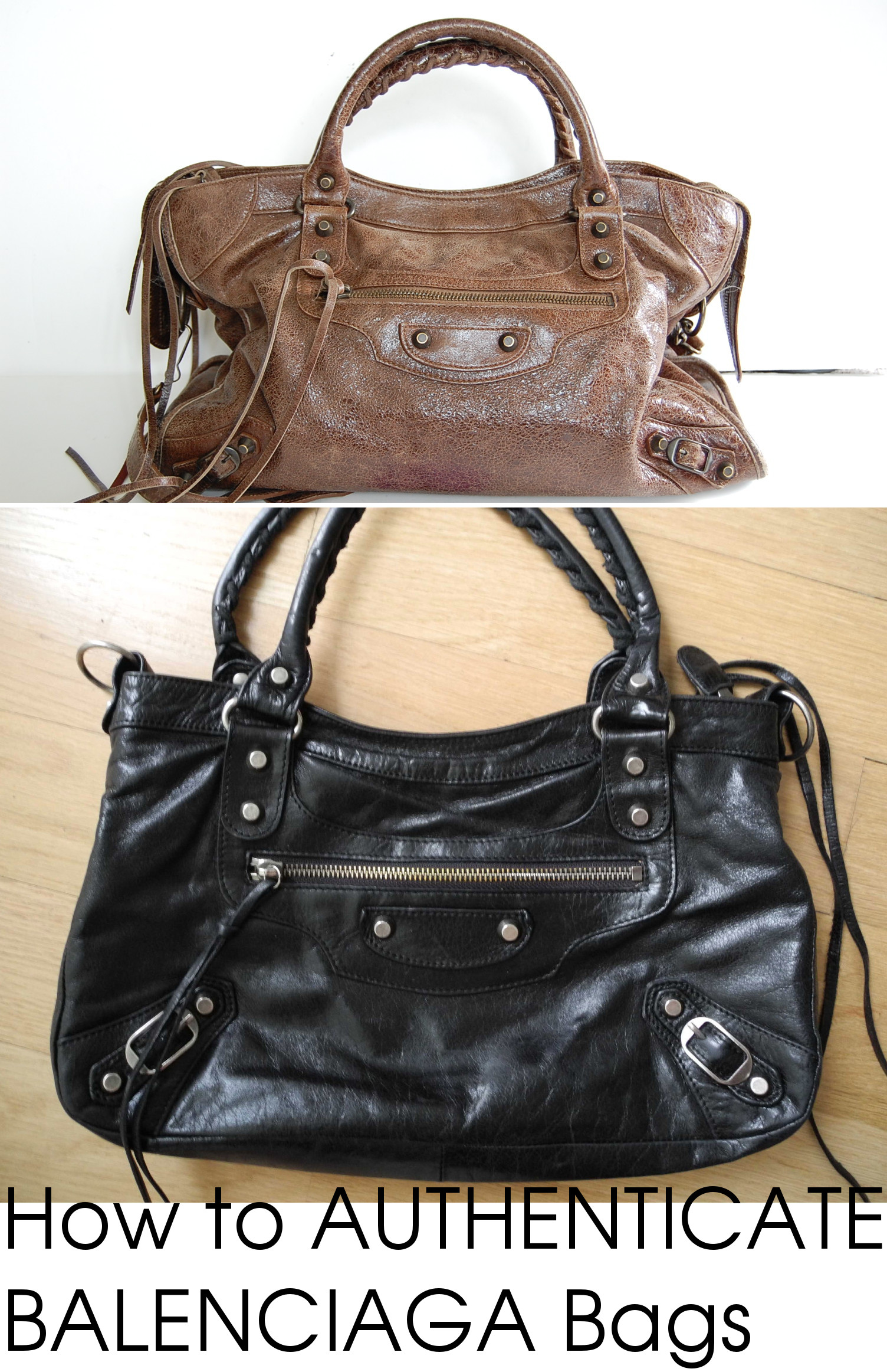 8dcd2097144012 authentic fake Balenciaga authenticity tutorial side by side. Here is an  authentic brown Balenciaga classic city moto bag ...