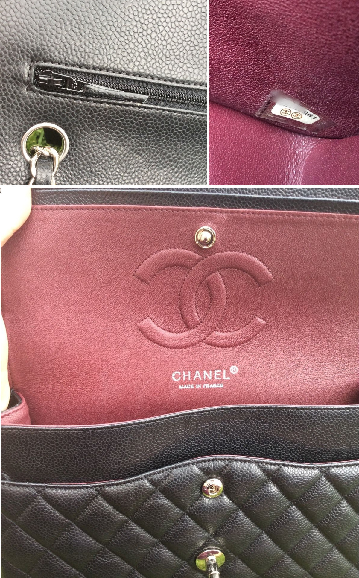 chanel medium double flap hardware zipper stamping super fake superfake replica serial sticker