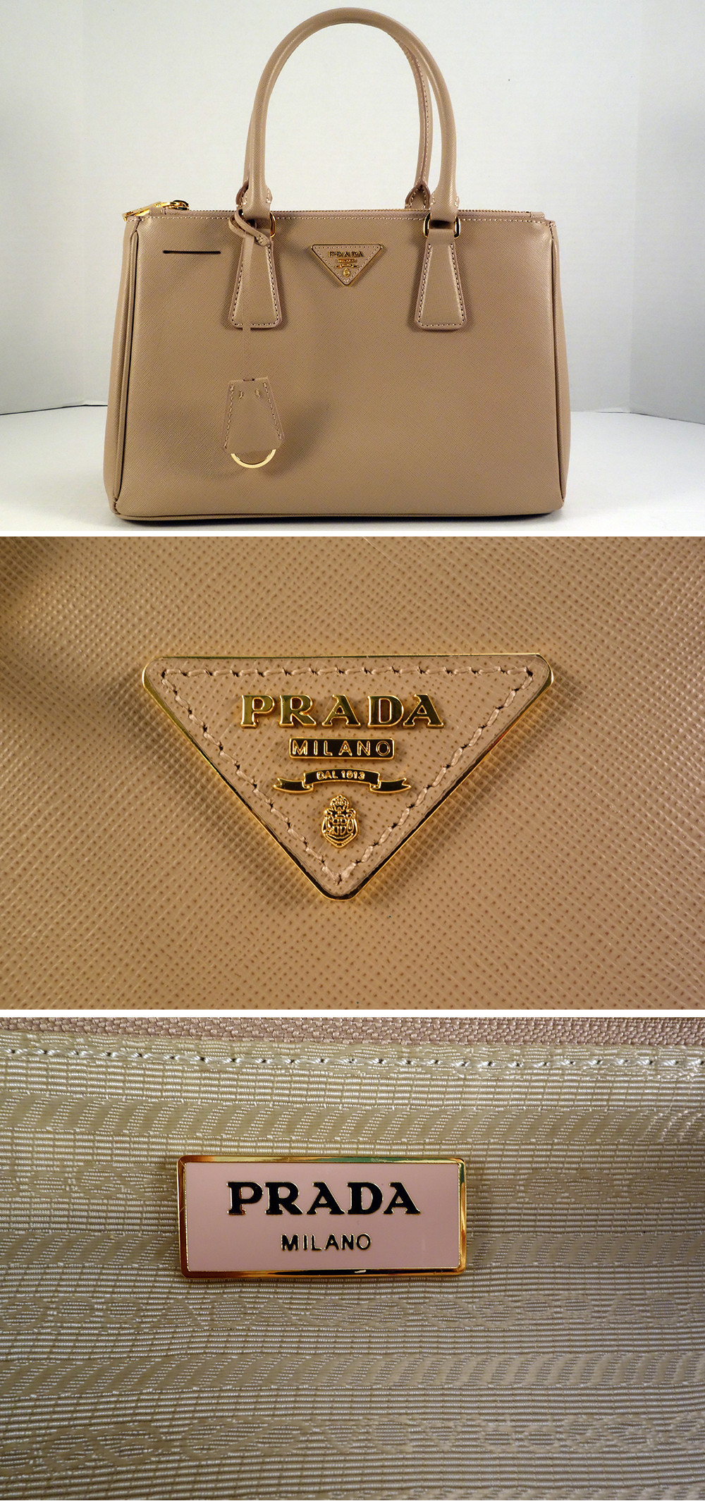 581b93b591f02 fake saffiano prada double zip tote replica hardware logo label
