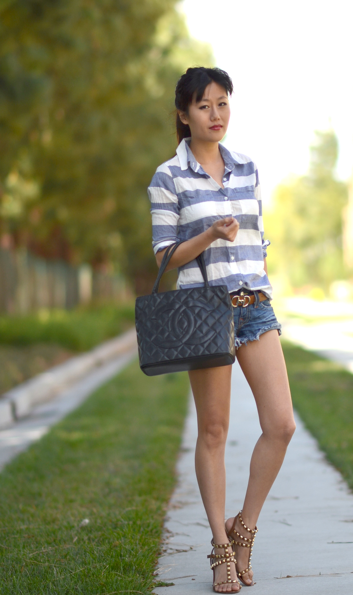 cutoff shorts with chunk block heel high sandals