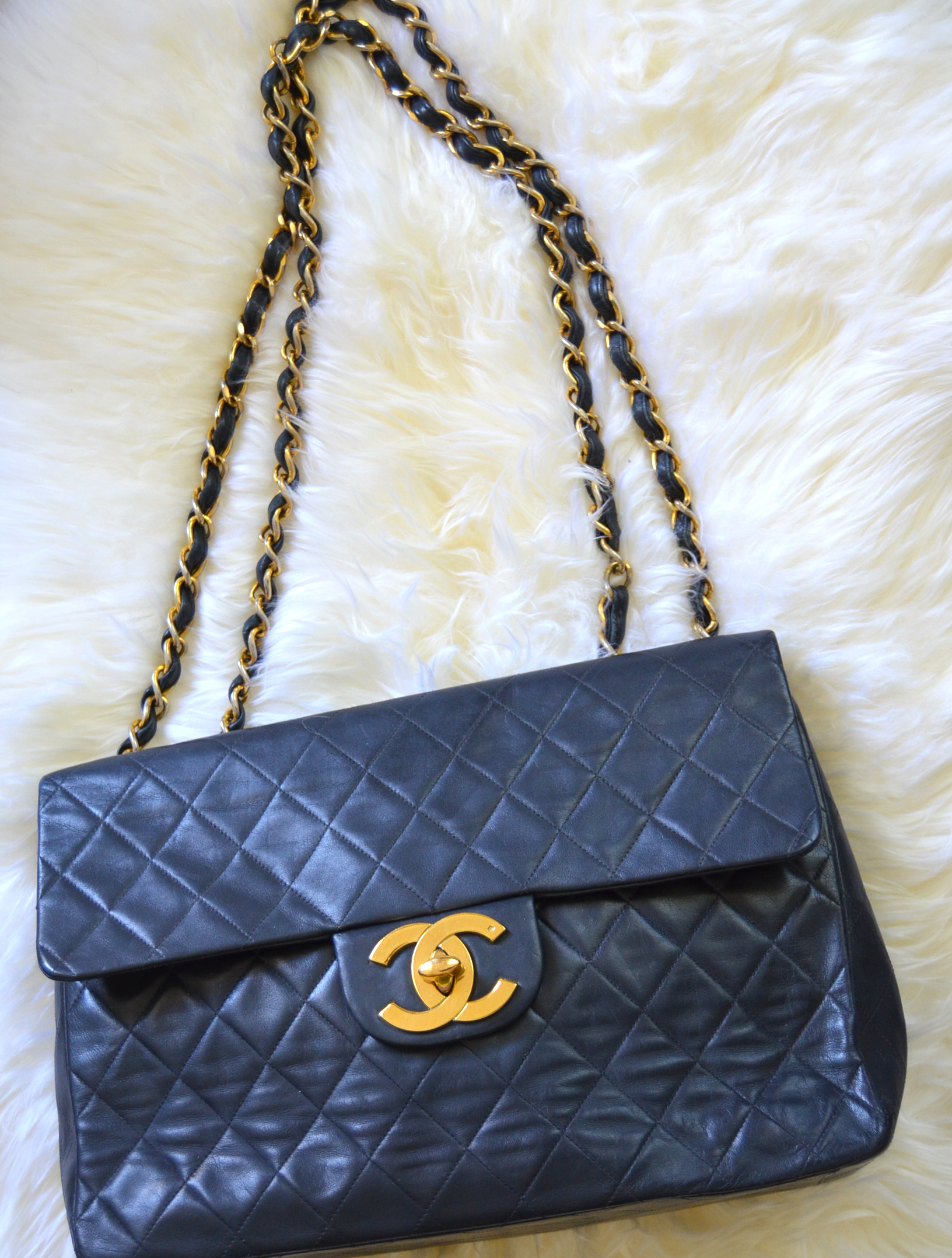 large big chanel calfskin vintage quilted chanel bag gold cc hardware
