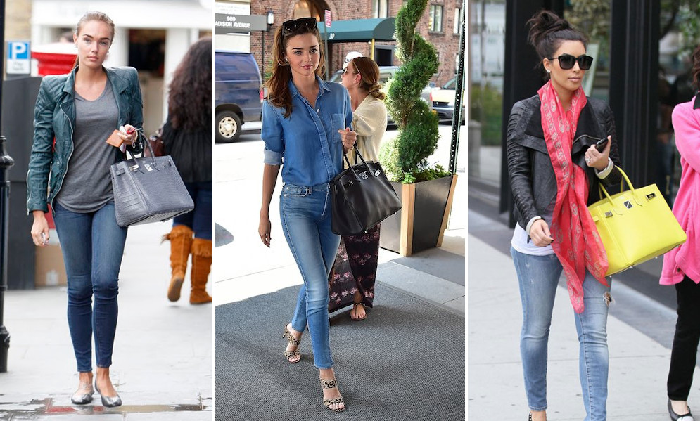 hermes birkin worn with everyday chic skinny jean outfits