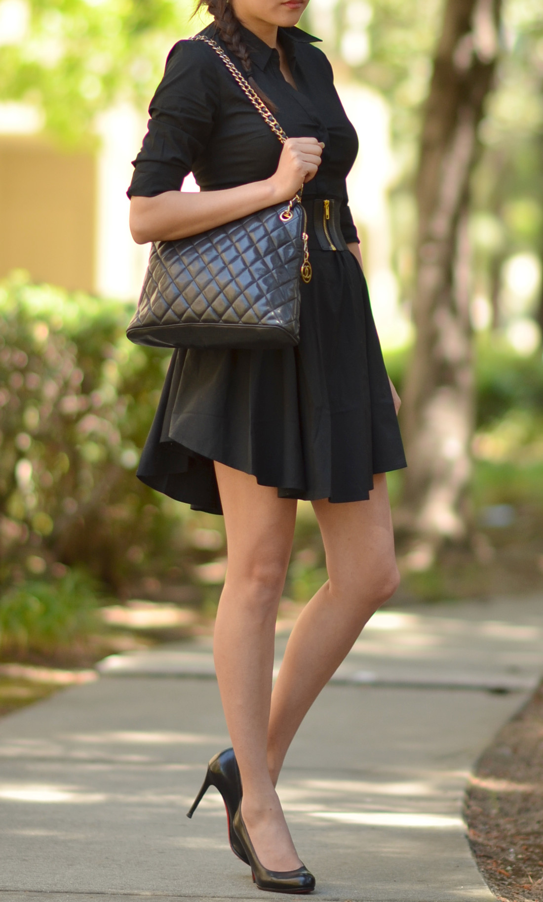wearing medium large quilted chanel zip tote black lambskin bag