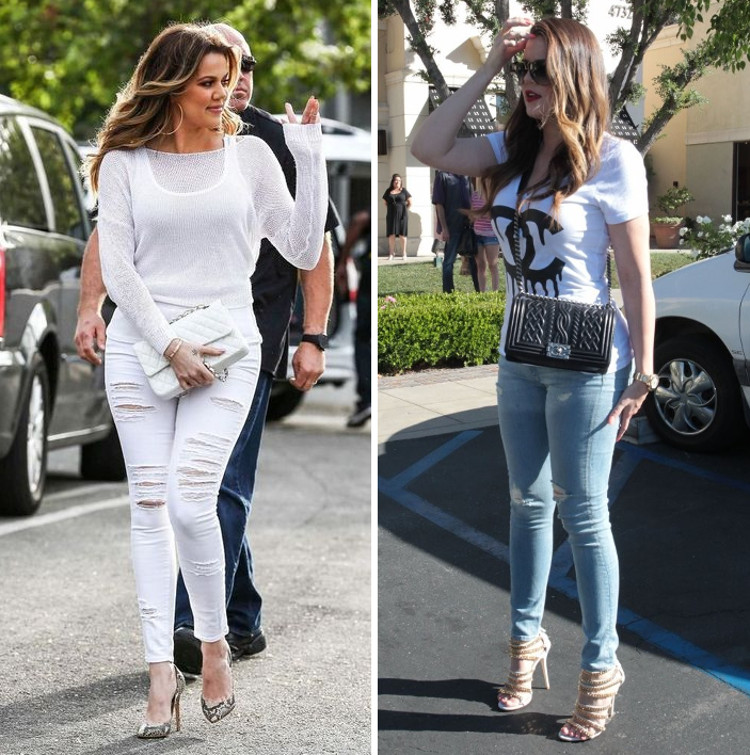 khloe kardashian chanel bag skinny jeans high heels