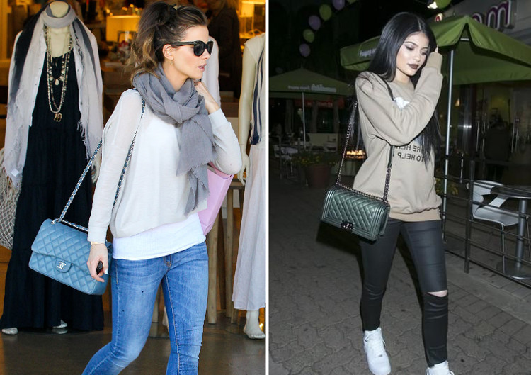kate beckinsale kylie jenner chanel classic 2.55 double flap bag vs le boy flap