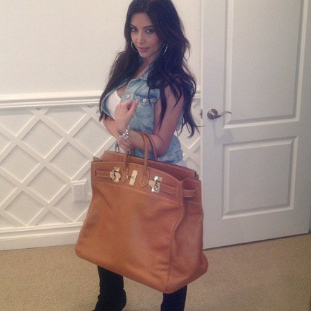 kim kardashian wearing really big hermes bag