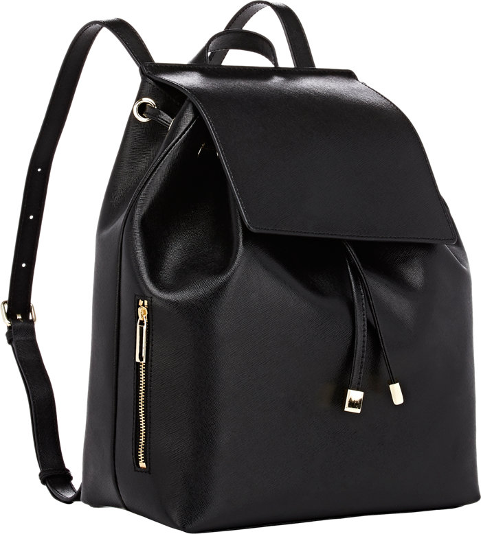 black saffiano leather backpack fashion