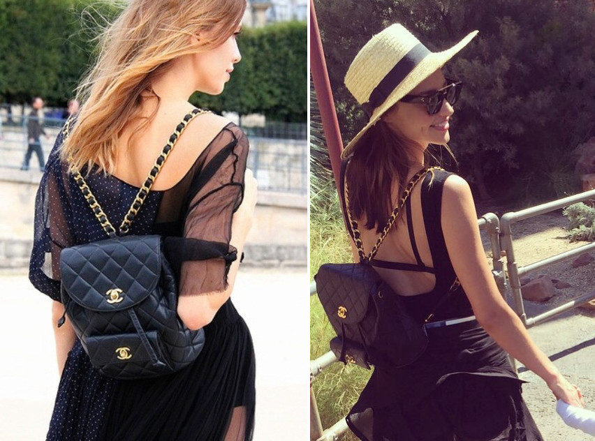 celeb celebrity miranda kerr wearing Chanel quilted vintage backpack