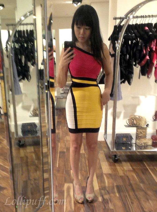 favorite colorblock herve leger dress