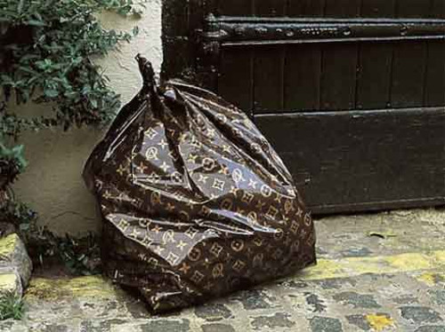 Trash bag with louis vuitton pattern