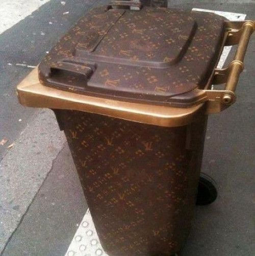 trash can spray painted LV
