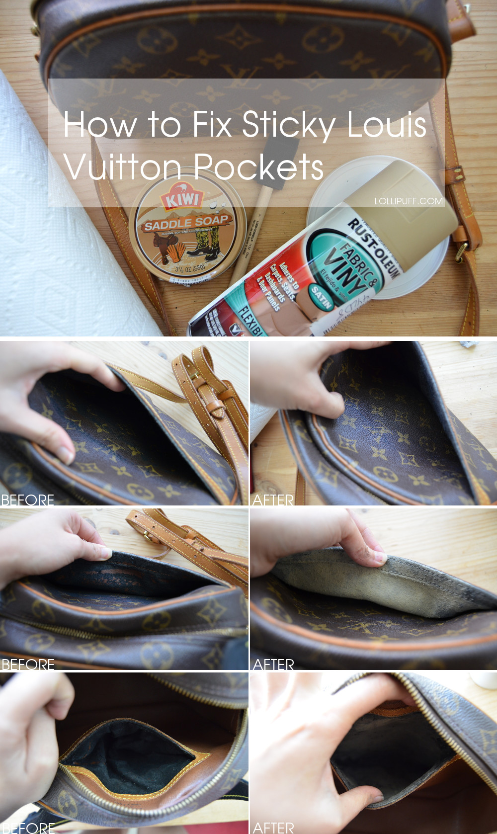 tutorial how to fix peeling sticky Louis Vuitton lining