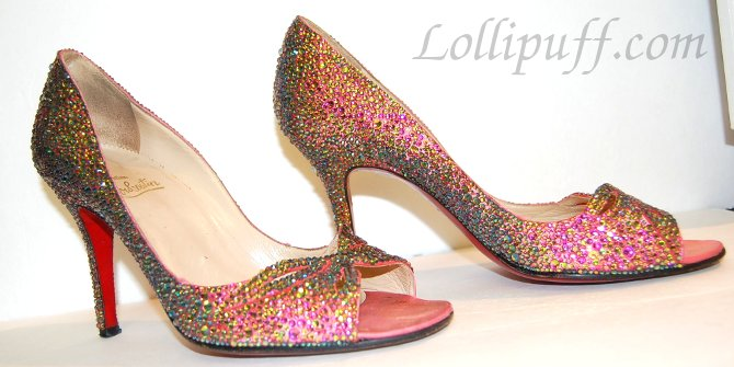 sparkly pink high heels covered in crystals Christian Louboutin satin